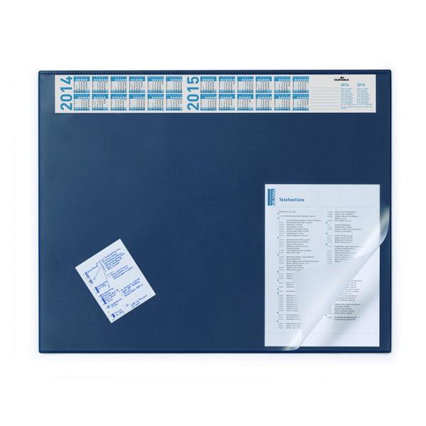 Подкладка настольная с прозрачным верхним листом и календарем, 650х520 мм, черная,Durable